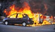 canvas print picture - Riots - Cars Burning