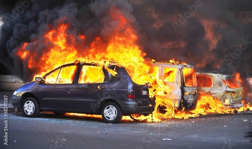 canvas print picture Riots - Cars Burning