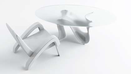 Empty modern armchair and coffee table on a white background