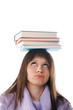Female student with books on white background