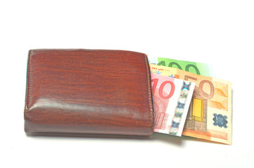 Wallet with euro banknotes