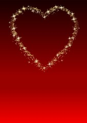 Star heart on a red background