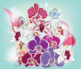 composizione artistica di orchidee