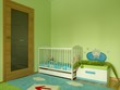 Baby bedroom with a white cot