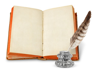 Ancient book and quill isolated on white