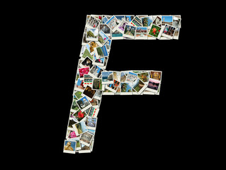 "Shape of  ""F"" letter made like collage of travel photos"