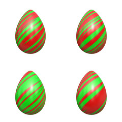 easter eggs red and green stripes