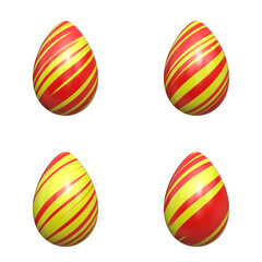 easter eggs red and yellow stripes