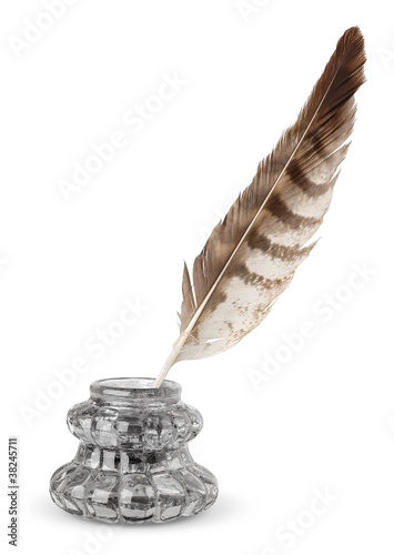 Inkstand and quill isolated on white