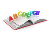 Fototapety Colorful symbols of alphabet on book 3D.  Education concept. Iso