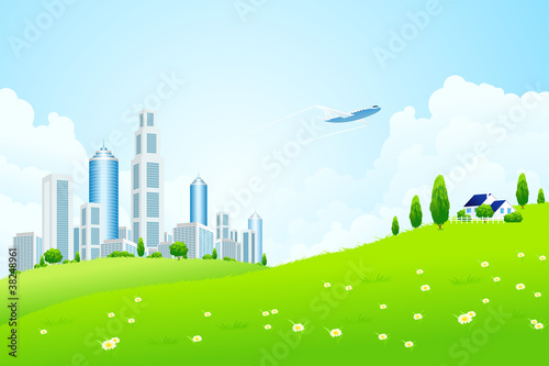 Foto op Canvas Vliegtuigen, ballon Green landscape with city