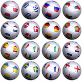 Sixteen soccer balls with flags of the 2012 European Championshi