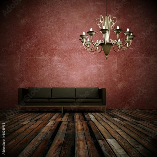 Wohndesign - Ledersofa vor roter Wand