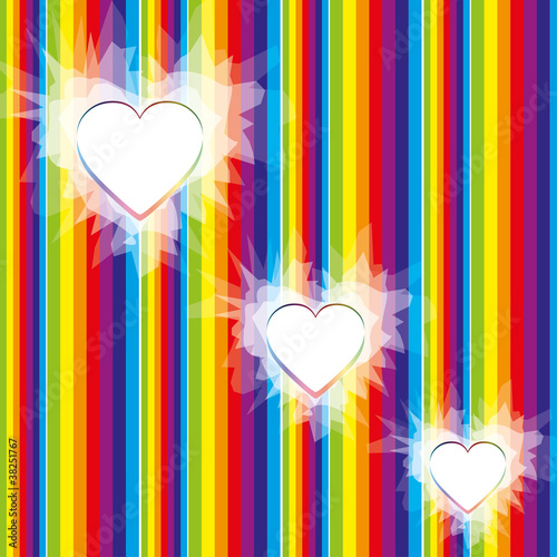 Valentine rainbow background with hearts, vector EPS 10.0