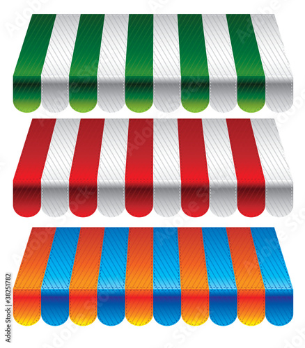 set of striped awnings for store - vector illustration