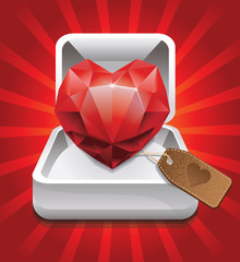 gift box with diamond heart - vector