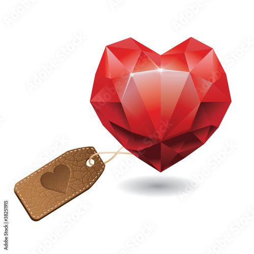 diamond in shape of heart - vector