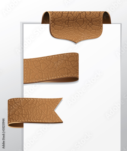 set of leather labels - vector illustration