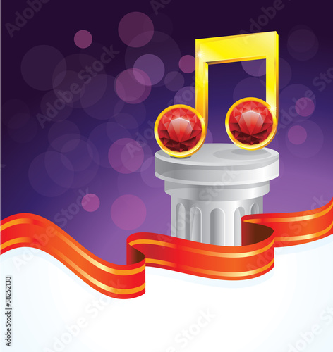 music note - gloden jewel with red diamonds