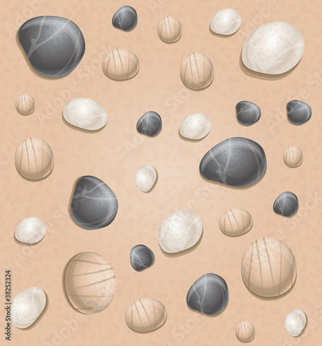 sea seamless pattern with stones  - vector illustration