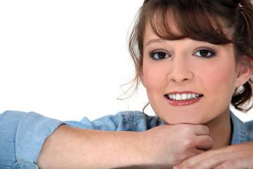 Portrait of a half-smiling woman