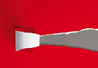 gerissenes Papier, rot-grau