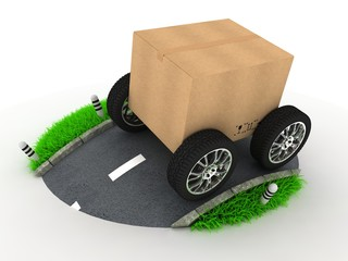 Cardboard Box with Wheels on Road