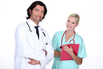a doctor and a nurse ready to work