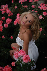 Sexy Blond In Pink Roses