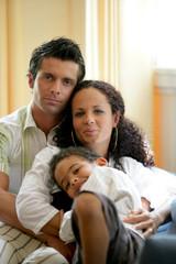 Portrait of a family cuddling