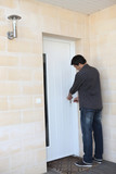Man locking his door