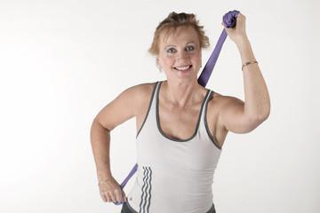 An elderly woman trained sports