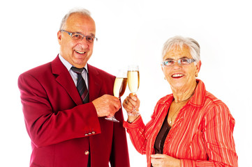 older couple celebrating