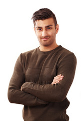 Confident young man with dynamic expression