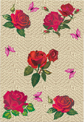red roses and butterflies on yellow background