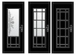 three black doors on white