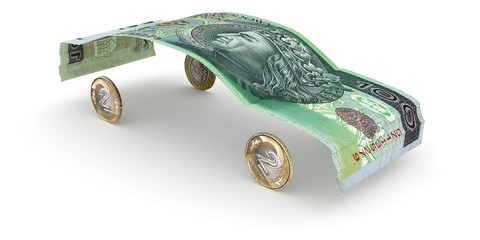 Car made of zloty note and coins