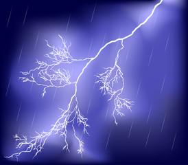 rain lilac sky with lightning
