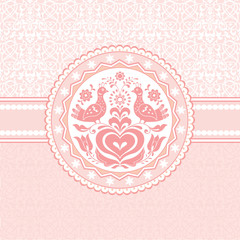 Birds and heart folk style pink greeting card