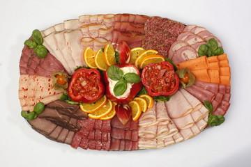 Partyplatte, gefüllte Paprika, Fleisch, Wurst, gefüllte Paprika,