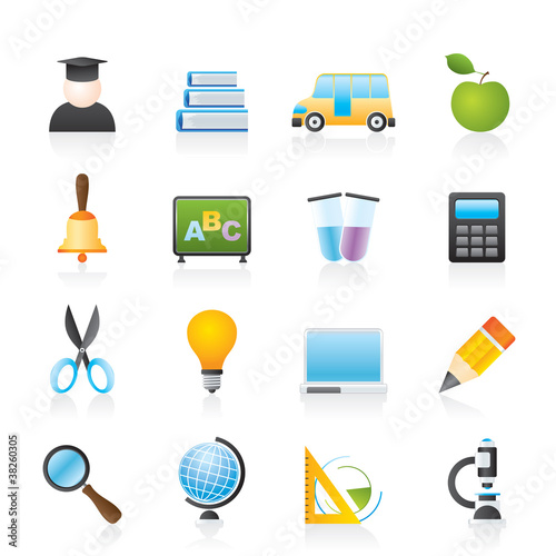 education and school icons - vector icon set