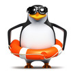 3d Penguin wears a lifering just in case