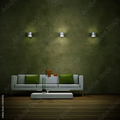 Wohndesign - weisses Sofa mit grünen Kissen