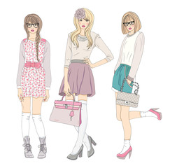 Young fashion girls illustration. Vector illustration.