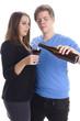 Zwei Jugendliche Trinken Wein
