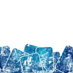 grunge blue squares against white background