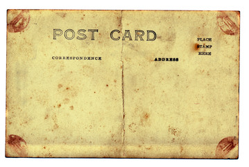 isolated old and grungy postcard background