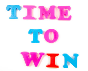 time to win written in fridge magnets