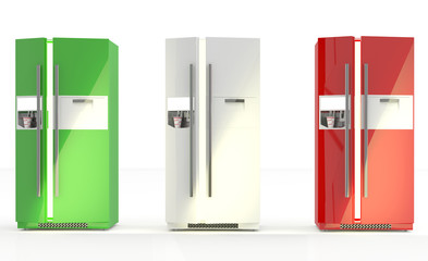 Modern refrigerator. 3D set of freezer