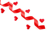 red ribbon with hearts isolated on white background poster